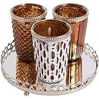 Home&Decorations Portavelas de Cristal con Placa de Espejo