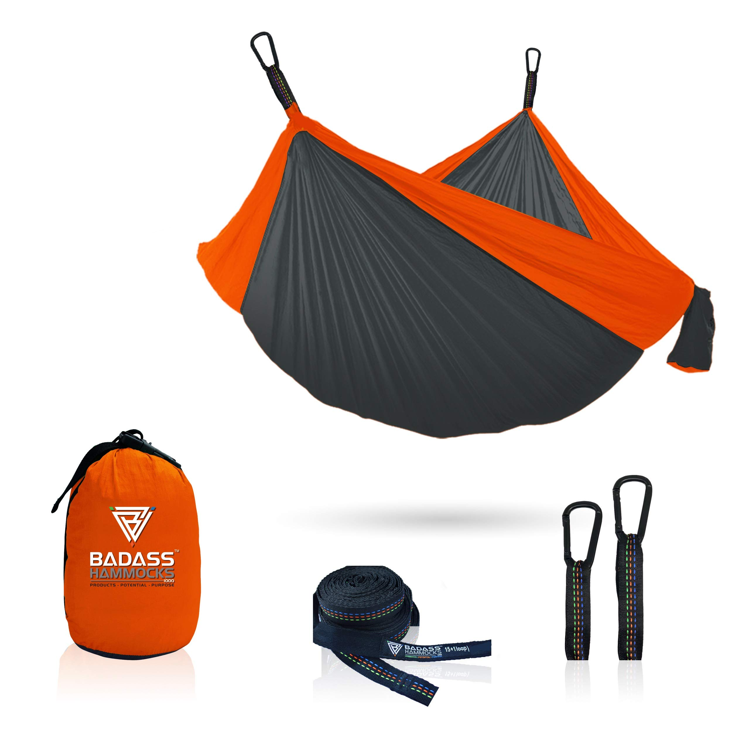 Badass Hammocks (Gray/Orange, Double (2500 Lb.)