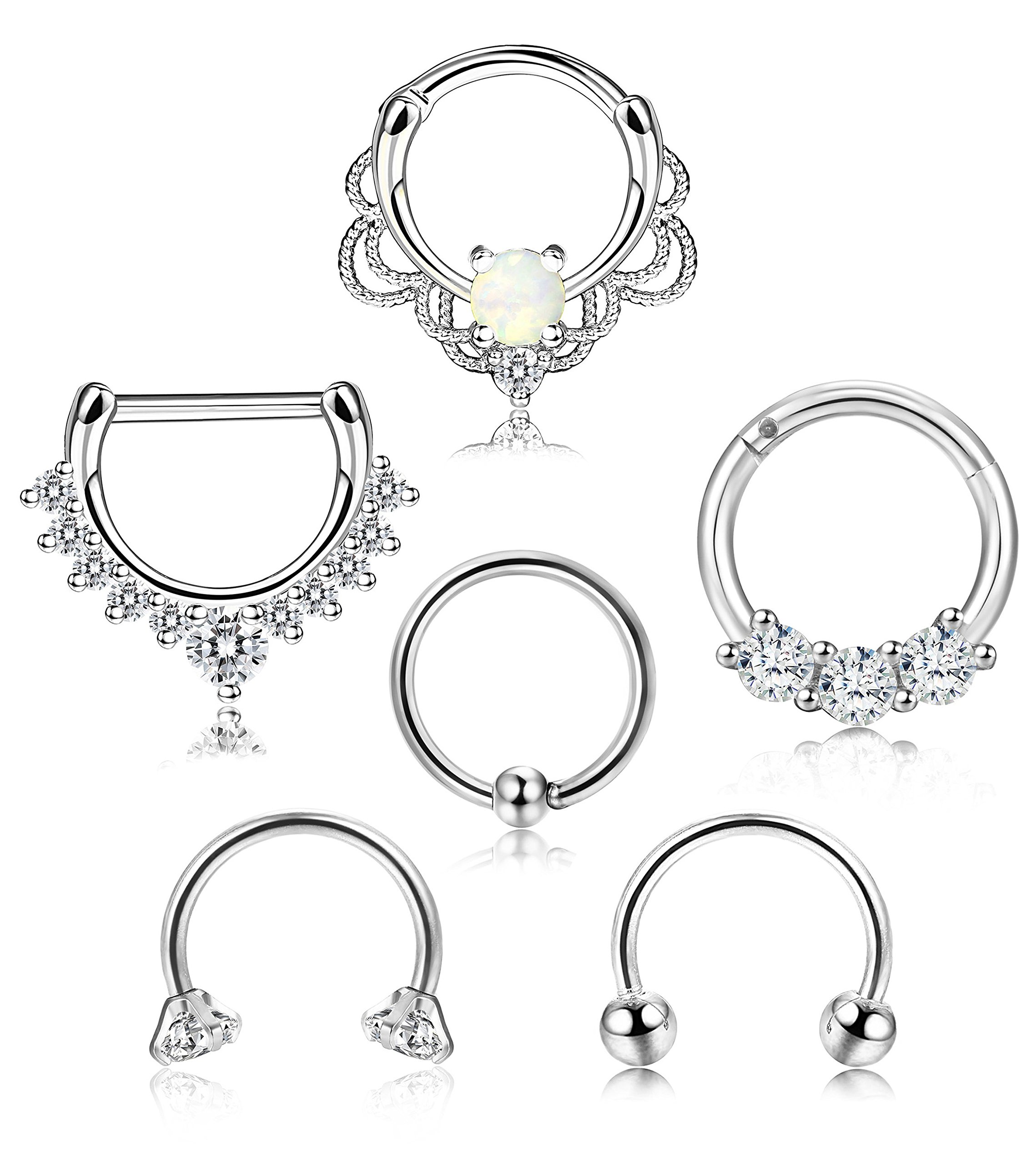 BodySparkle Body Jewelry Set of Two Clear 20g-18g-16g-14g Captive Bead Rings-Daith Earrings-Nipple-Lip Ring Piercing Hoop