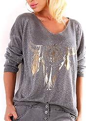 Glitzer-Feinstrick Pullover im Oversize-Style mit Gold-Print