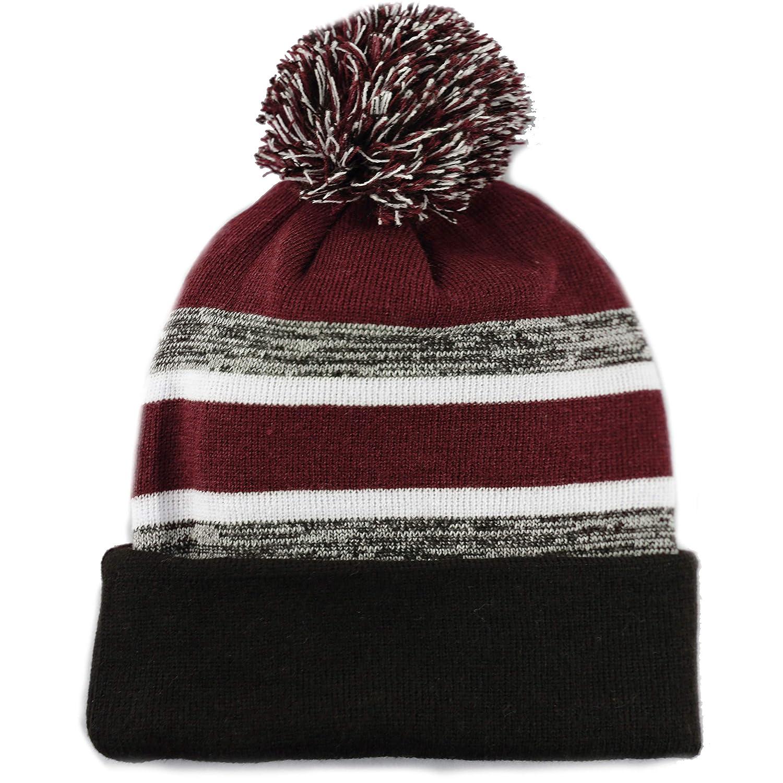 43fcfe1f7 The Hat Depot Winter Soft Unisex Cuff Pom Pom Stripe Knit Beanie Skull  Slouch Hat