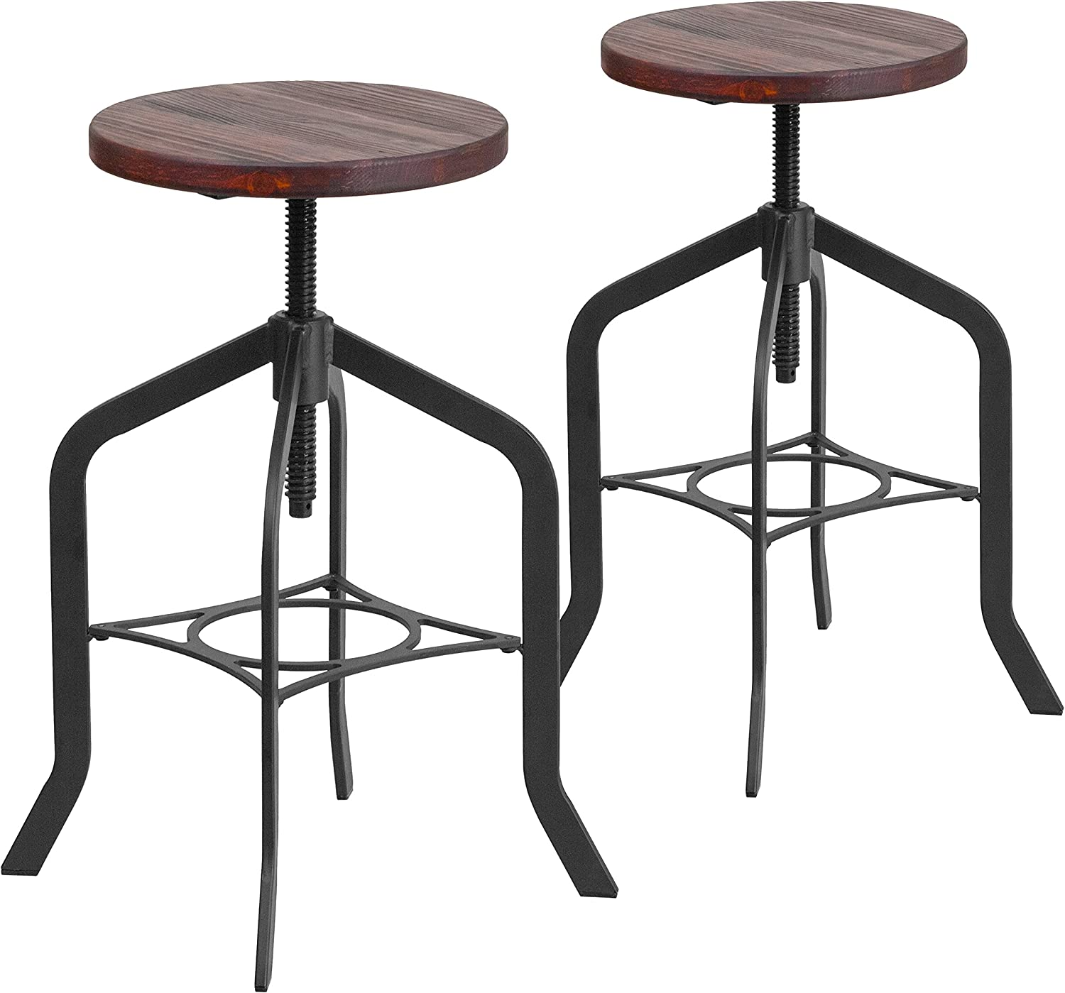 Flash Furniture 2 Pk. 24 Counter Height Stool with Swivel Lift Wood Seat
