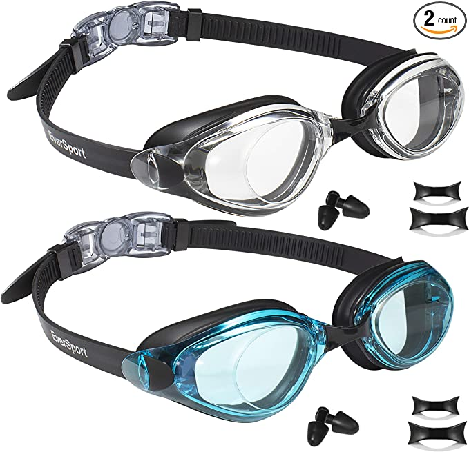 Shatter-Proof EverSport Swim Goggles Anti-Fog UV Protection for Adult Men Women Youth Kids Child Mirrored Lens Watertight Swimming Goggles 2-Pack