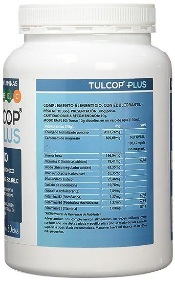 Tulcop Plus Polvo Colágeno con Magnesio, Ácido Hialurónico y Condroitina - 306 gr: Amazon.es: Salud y cuidado personal