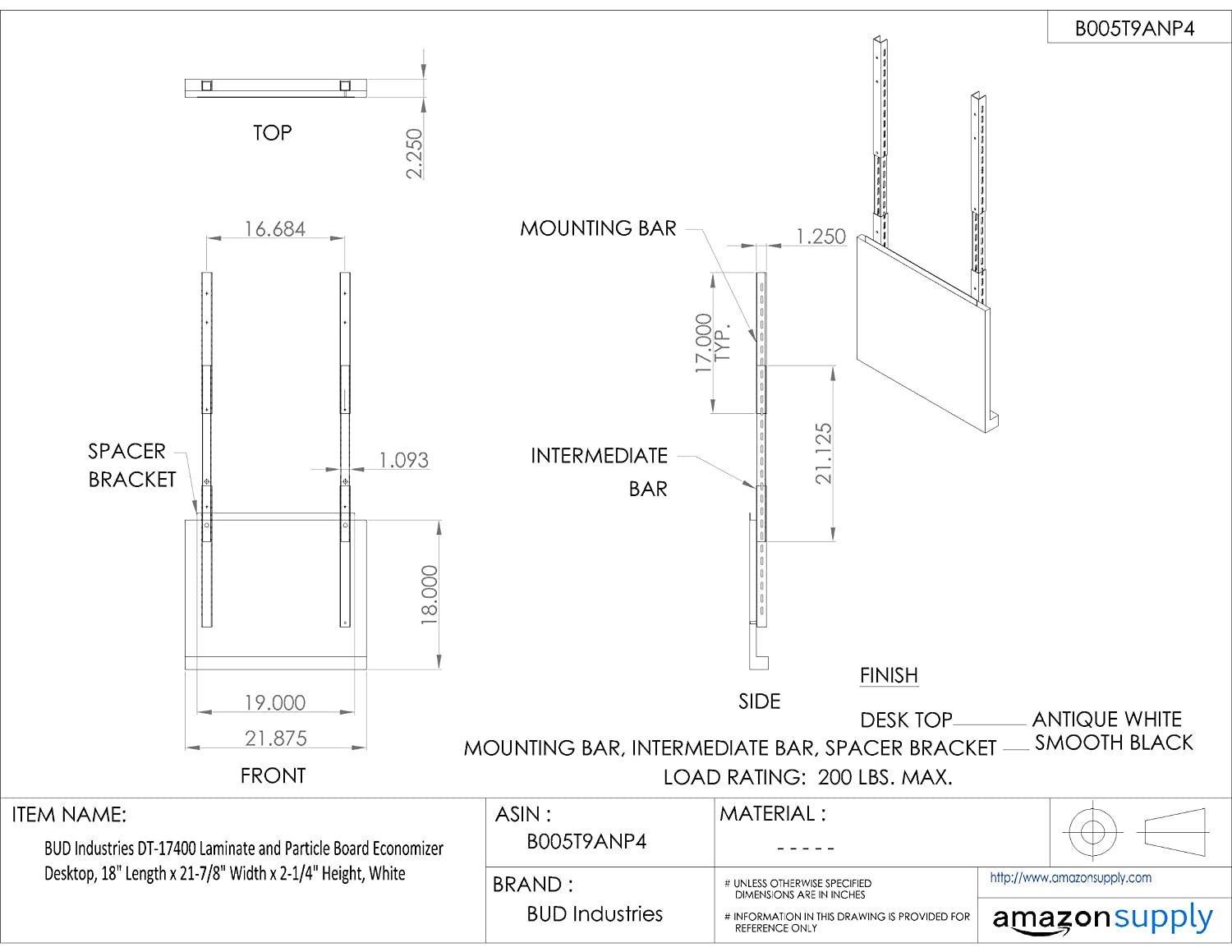 Bud Industries Dt 17400 Laminate And Particle Board Economizer Wiring Diagram Desktop 18 Length X 21 7 8 Width 2 1 4 Height White Electrical Boxes