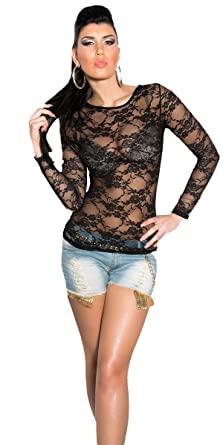 6e564005aa2 New Sexy clubbing women party top transparent mesh summer long sleeve  shirt6/10 (One Size, Black): Amazon.co.uk: Clothing