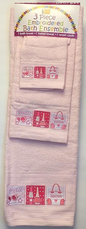 Rosa toalla con diseño de Glam – 3 pieza bordado toalla de baño Set – toalla