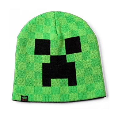 c6f3dcadcc2 Kids Boy s Official Minecraft Creeper face knitted winter beanie hat AGE  10-14