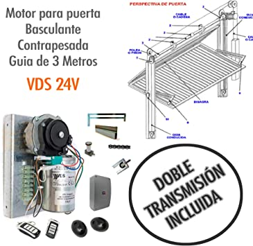 Kit Motor para puerta basculante contrapesada con KIT DE TRANSMISION INCLUIDO - VDS 24v CARRIL DE 3