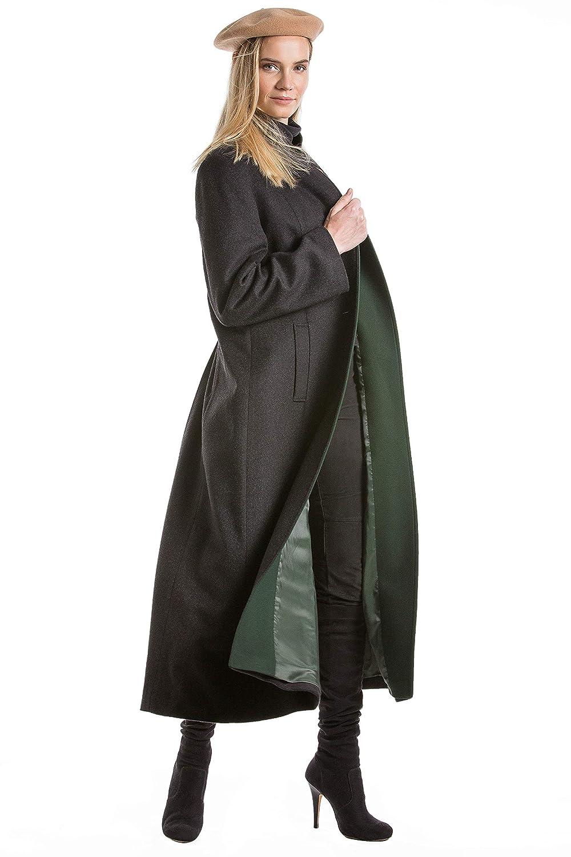 Robert W. Stolz Women's Long Austrian Loden Wool Coat Florentina Charcoal