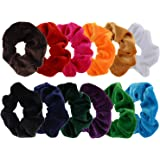 Mudder 12 Pack Hair Scrunchies Velvet Scrunchy Bobbles Elastic Hair Bands, 12 Colors