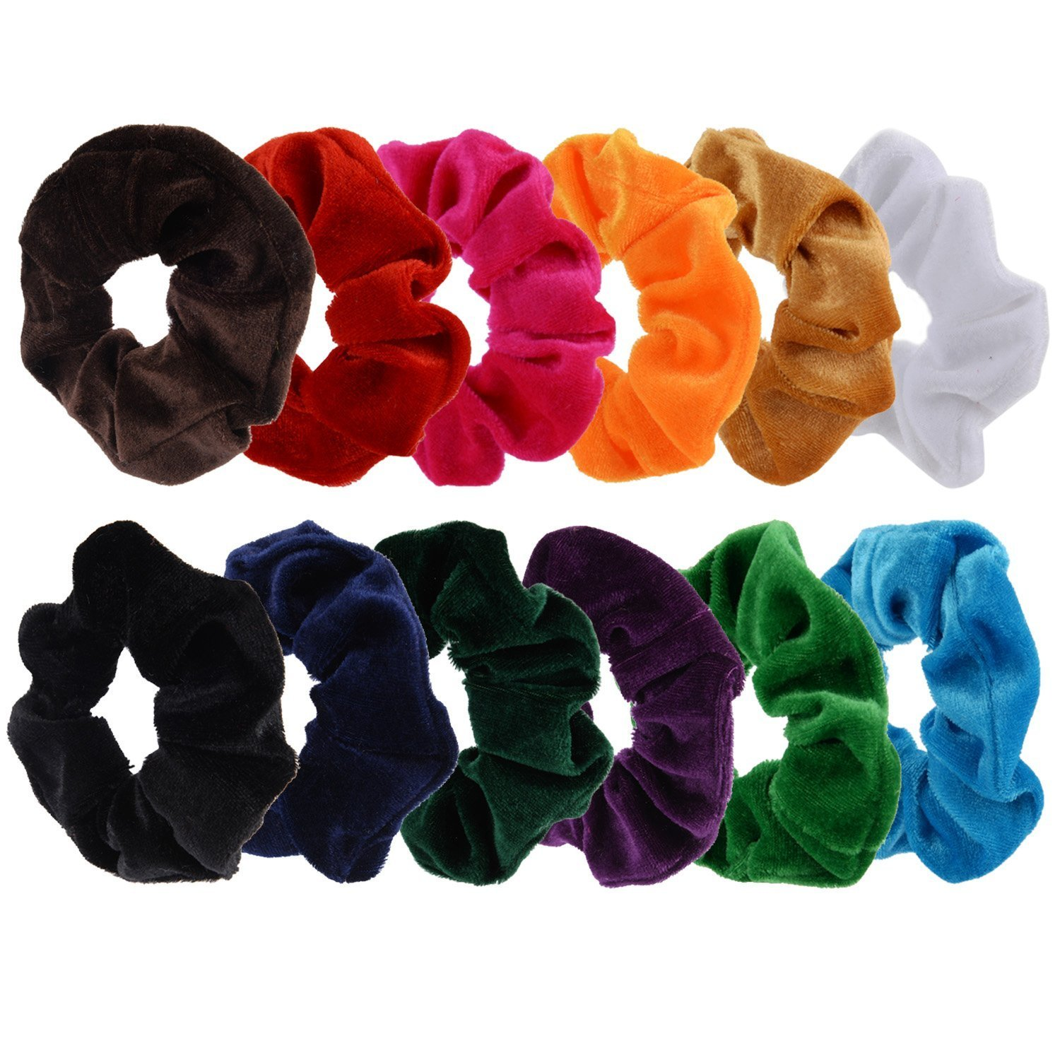 12 Pack Hair Scrunchies Velvet Scrunchy Bobbles Elastic Hair Bands, 12 Colors Mudder