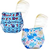Superbottoms Certified Soft Fleece Lined Pocket Diapers with 2 Wet Free Inserts with Snaps, One Size (Pack of 2)