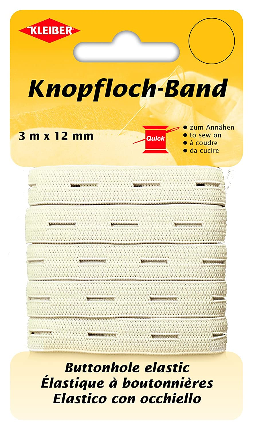 Kleiber Button Hole Elastic, White, 3 m x 12 mm 710-91