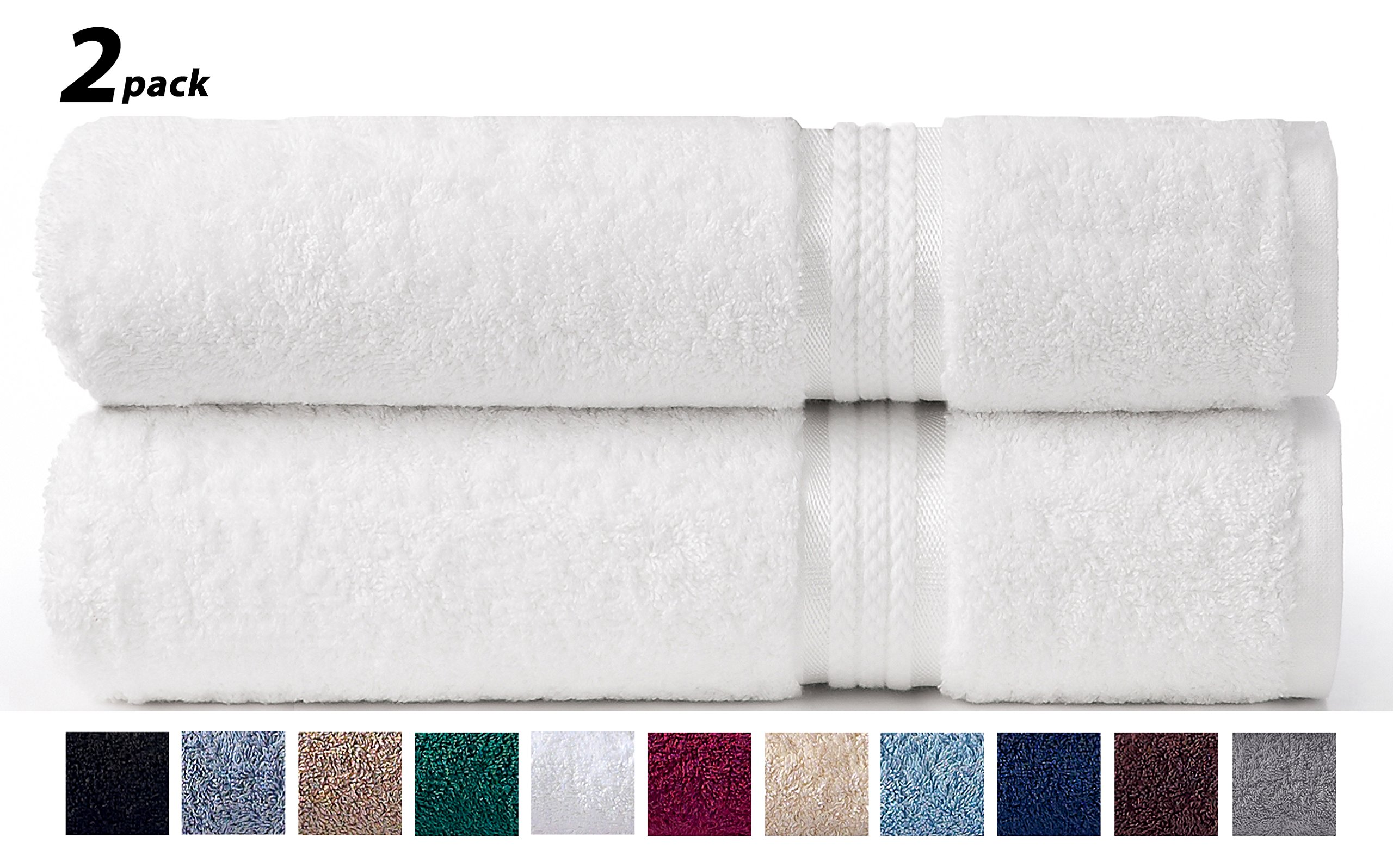 COTTON CRAFT - 2 Pack Ultra Soft Oversized Extra Large Bath Sheet 35x70 White - Weighs 33 Ounces - 100% Pure Ringspun Cotton - Luxurious Rayon Trim - Ideal for Everyday use - Easy Care Machine wash by COTTON CRAFT