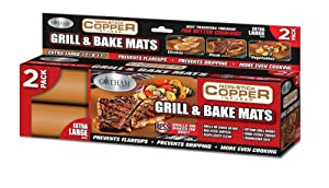 Gotham Steel Reusable Non-Stick Copper BBQ Grill & Baking Mats – 2 Pack