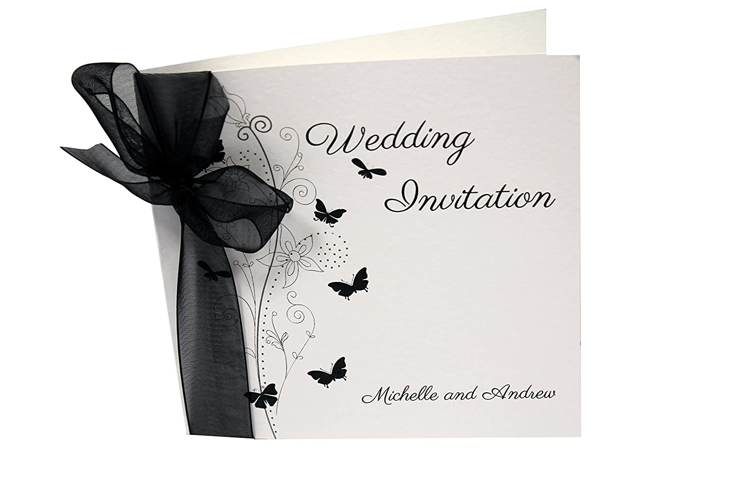 Available in Many Colours Royal Blue Organza Packs of 10 Butterfly Wedding Invitations Personalised with Ribbon