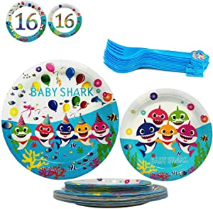 48 Pcs Baby Shark Party Plates Set, 32 pcs 9 + 7 Inch Cake Paper Plates and 16 pcs Shark Forks, Birthday Party Supplies Favor Pack Set for Kids