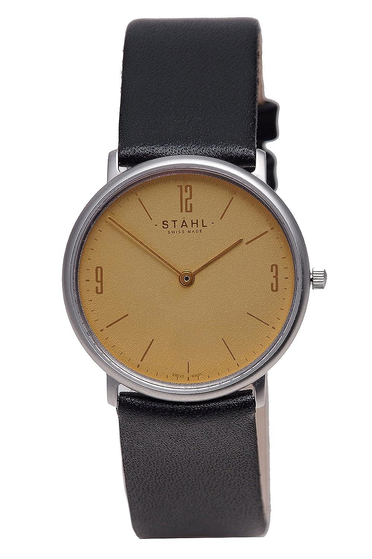 Stahl Swiss Made Armbanduhr Modell: st61354 – Edelstahl – Groß 33 mm Fall – Arabisch und Bar Gold Zifferblatt