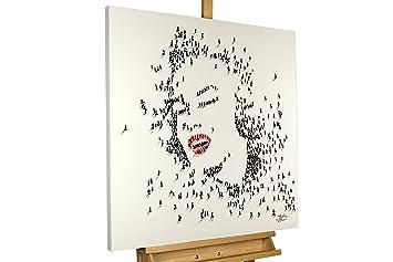Handgemalte Bilder Auf Leinwand amazon de kunstloft acryl gemälde marilyn 80x80cm