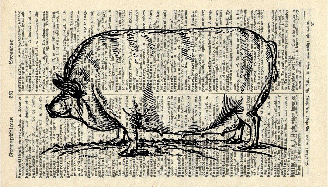 Fat Pig Art Print - Farmyard Animal Art Print - Vintage Art Print - Kitchen Art Print - Vintage Dictionary Art Print - Wall Art - Artwork - Gift - Illustration - Wall Hanging - Book Print 698B