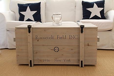 Caja de madera estilo Shabby Chic con diseño de caja de mercancías, baúl, mesa