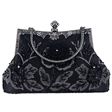 Bagood Womens Vintage Style Roses Beaded Silk And Sequined Evening Bag Wedding Party Handbag Clutch Purse