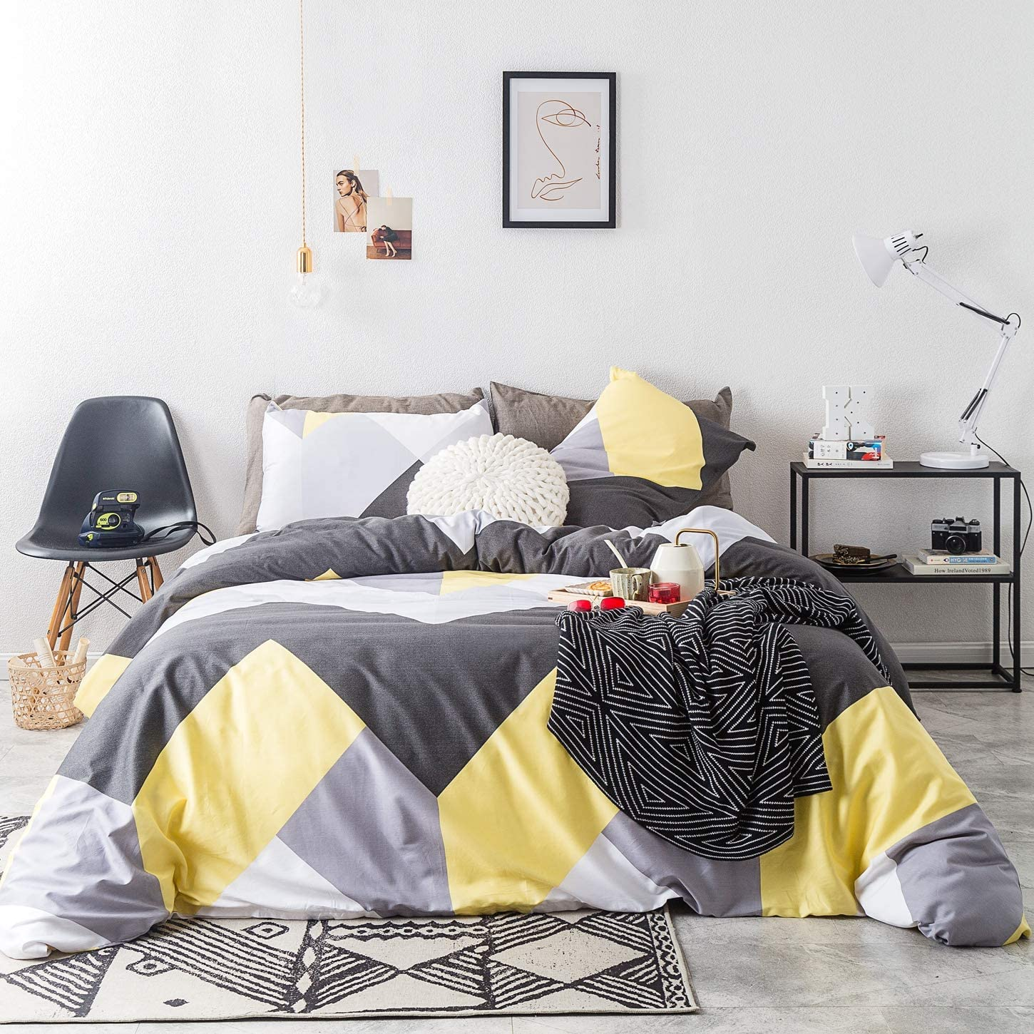 SUSYBAO 3 Piece Duvet Cover Set 100% Cotton King Size Gray and Yellow Geometric Bedding Set with Zipper Ties 1 Silver Chevron Duvet Cover 2 Pillowcases Luxury Quality Soft Breathable Easy Care