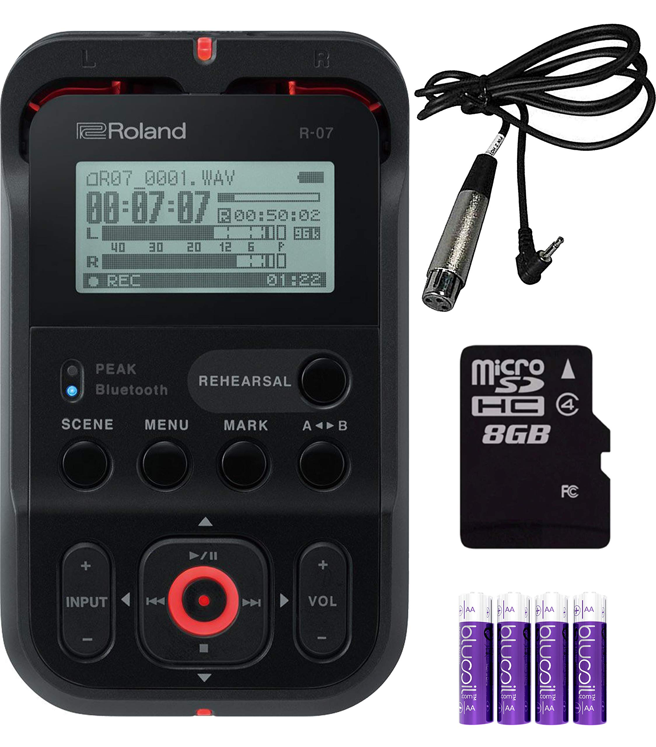 Roland R-07-BK Portable Field Recorder (Black) Bundle with Hosa XVM-105F 5ft Microphone Cable with XLR3F to Right-angle 3.5mm TRS Connectors and 4 Blucoil AA Batteries