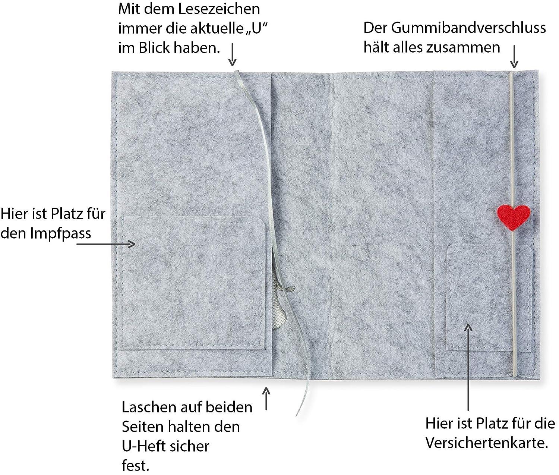 | 2in1: U-Heft H/ülle und Impfpass H/ülle grau//hellgrau Farbe w/ählbar Uheft H/ülle Elefant mit Herz aus Filz