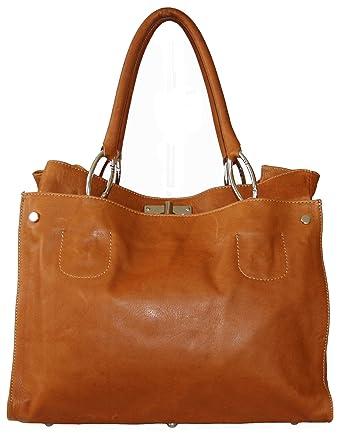dda640e253013f ital echt Leder Luxus Handtasche Damentasche Shopper Tasche Ledertasche  cognac L