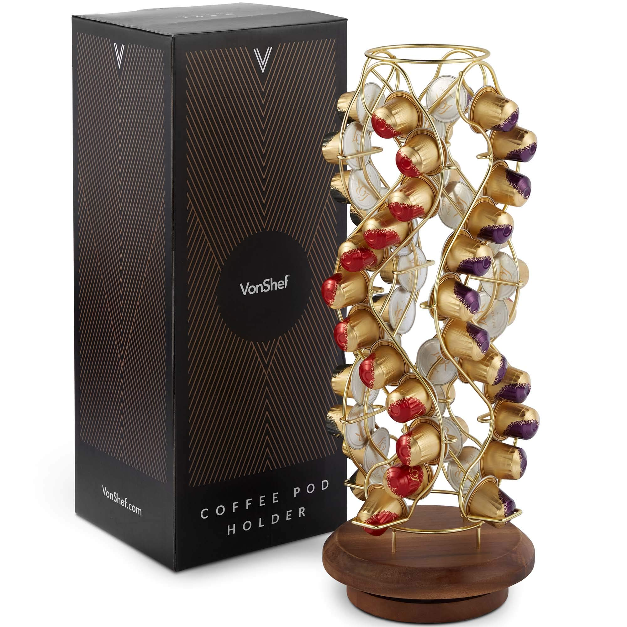 VonShef Coffee Pod Holder, Decorative Brushed Gold Stainless Steel Wire Mounted On Wooden Stand, 42 Pod Capacity Compatible with Nespresso Capsule by VonShef
