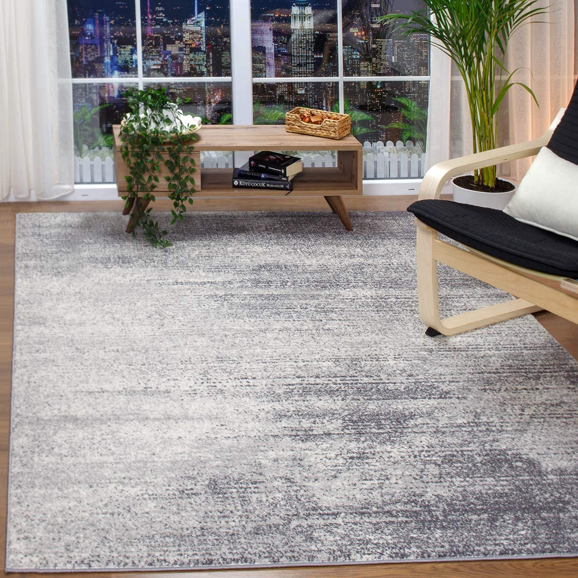 Antep Rugs Florida Collection Distressed Modern Abstract Polypropylene Indoor Area Rug Grey, 8 x 10