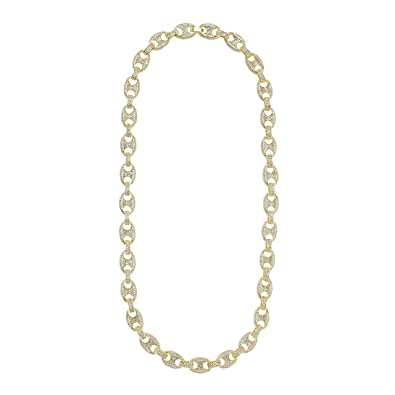 Gucci Link Chain >> Amazon Com Jewelry4all 11mm Iced Out Gold Plated Gucci Link