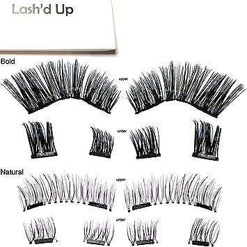 daeefbc4d1f Amazon.com : [2-Pack Natural & Bold] Lash'd Up Magnetic Eyelashes ...