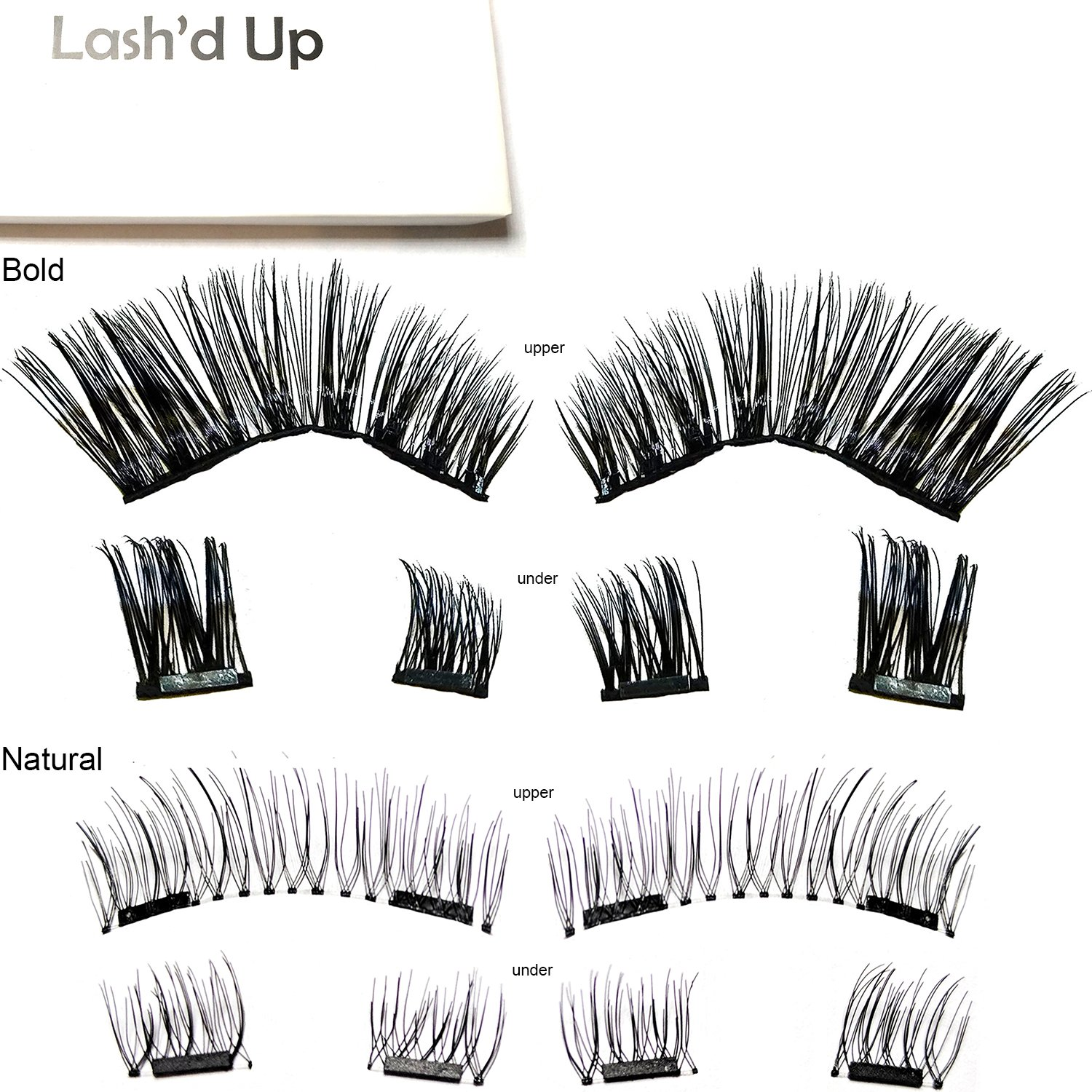 [2-Pack Natural & Bold] Lash'd Up Magnetic Eyelashes Full Eyes Premium Silk [No Glue] Child Cancer Partner Better Than 3 Magnets Reusable False Lashes | undress me & i woke up this way