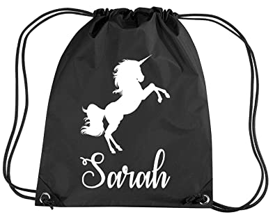7a37cb448274 BLACK Drawsting Bag Personalised UNICORN with White Print  Amazon.co ...