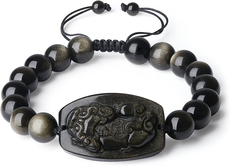 COAI Pulsera Ajustable para Hombre de Obsidiana Dorada con Amuleto Pixiu