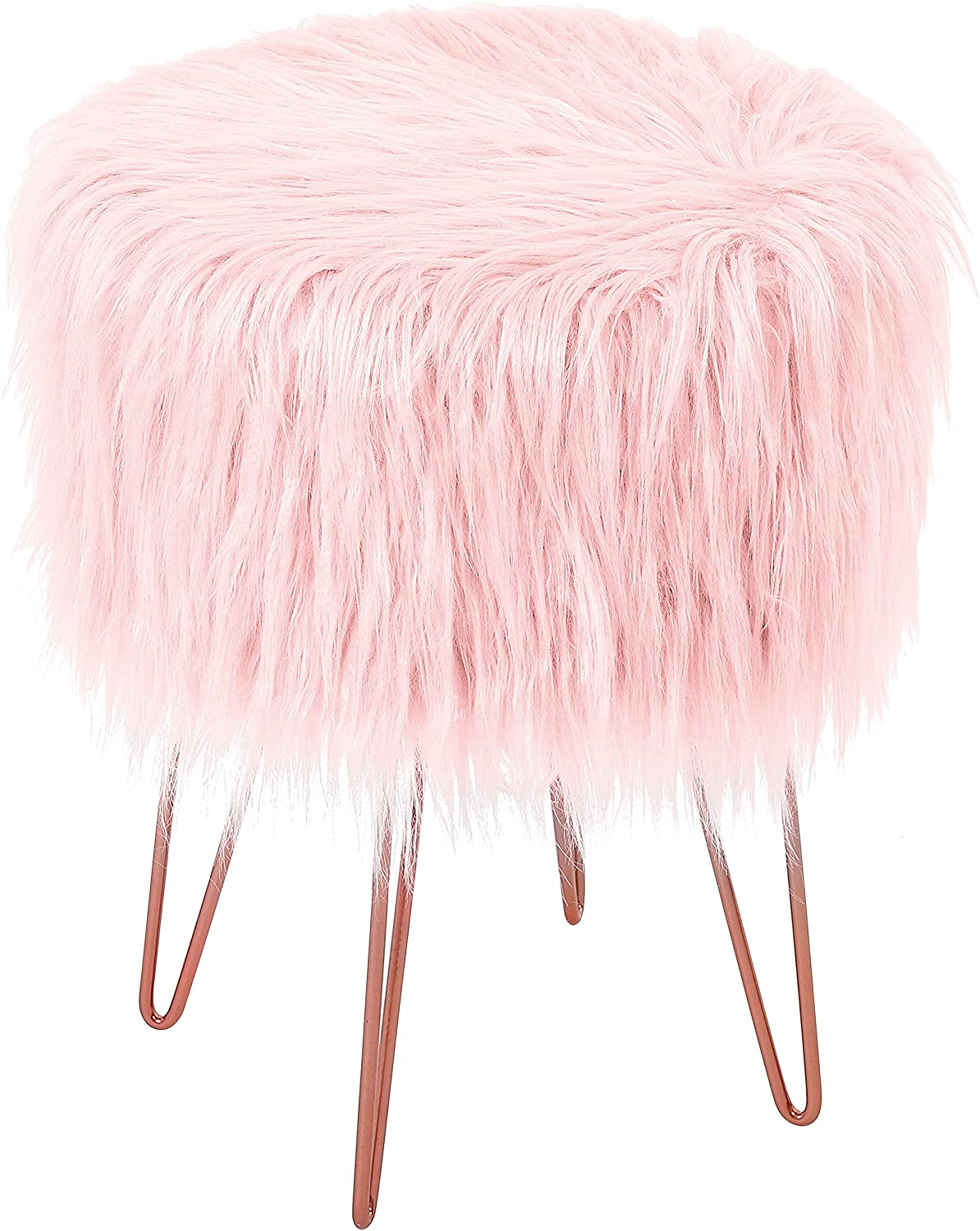 BIRDROCK HOME Pink Faux Fur Foot Stool Ottoman – Soft Compact Padded Seat - Living Room, Bedroom and Kids Room Chair – Hair Pin Metal Legs Upholstered Decorative Furniture Rest – Vanity Seat