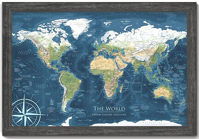 Amazon world map push pin framed map voyager 2 world map world map push pin framed map voyager 2 world map designed by a professional gumiabroncs Choice Image