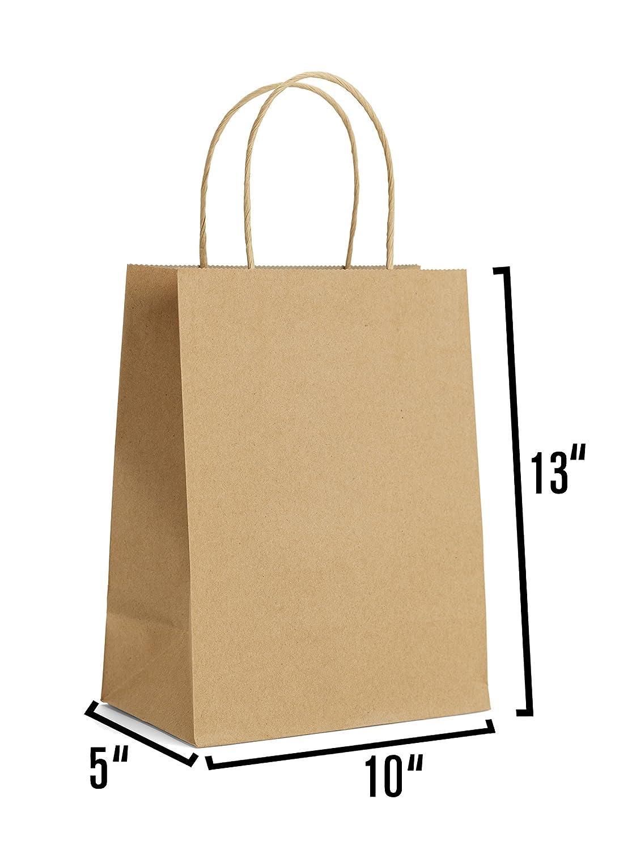 ブラウンクラフト紙ギフトバッグハンドル付き50個10 x 5 x 13ショッピング、パッケージ、小売、パーティー、クラフト、ギフト、ウェディング、リサイクル、商品バッグ B07BKQH5XS