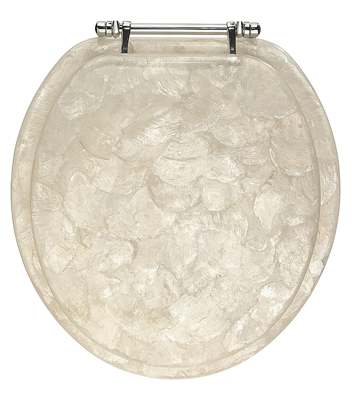 Bathroom Toilet Seat Standard Replacement Marble Design Steel Hinges White