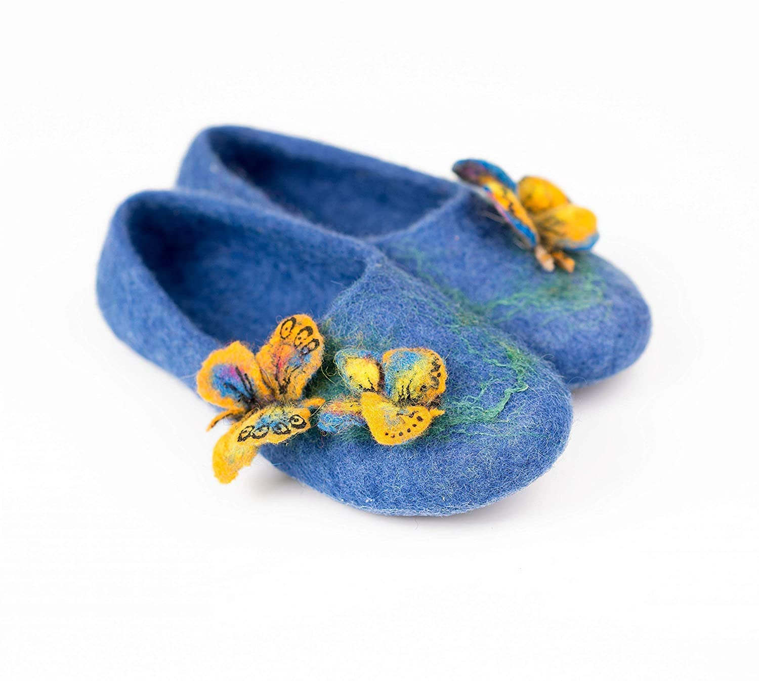 c789c0afc4c09 Toddler girls blue felted wool slippers with butterflies, Handmade ...