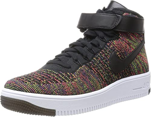 Nike Mens Air Force 1 AF1 Ultra Flyknit Mid BlackBright Crimson Multi Color Fabric