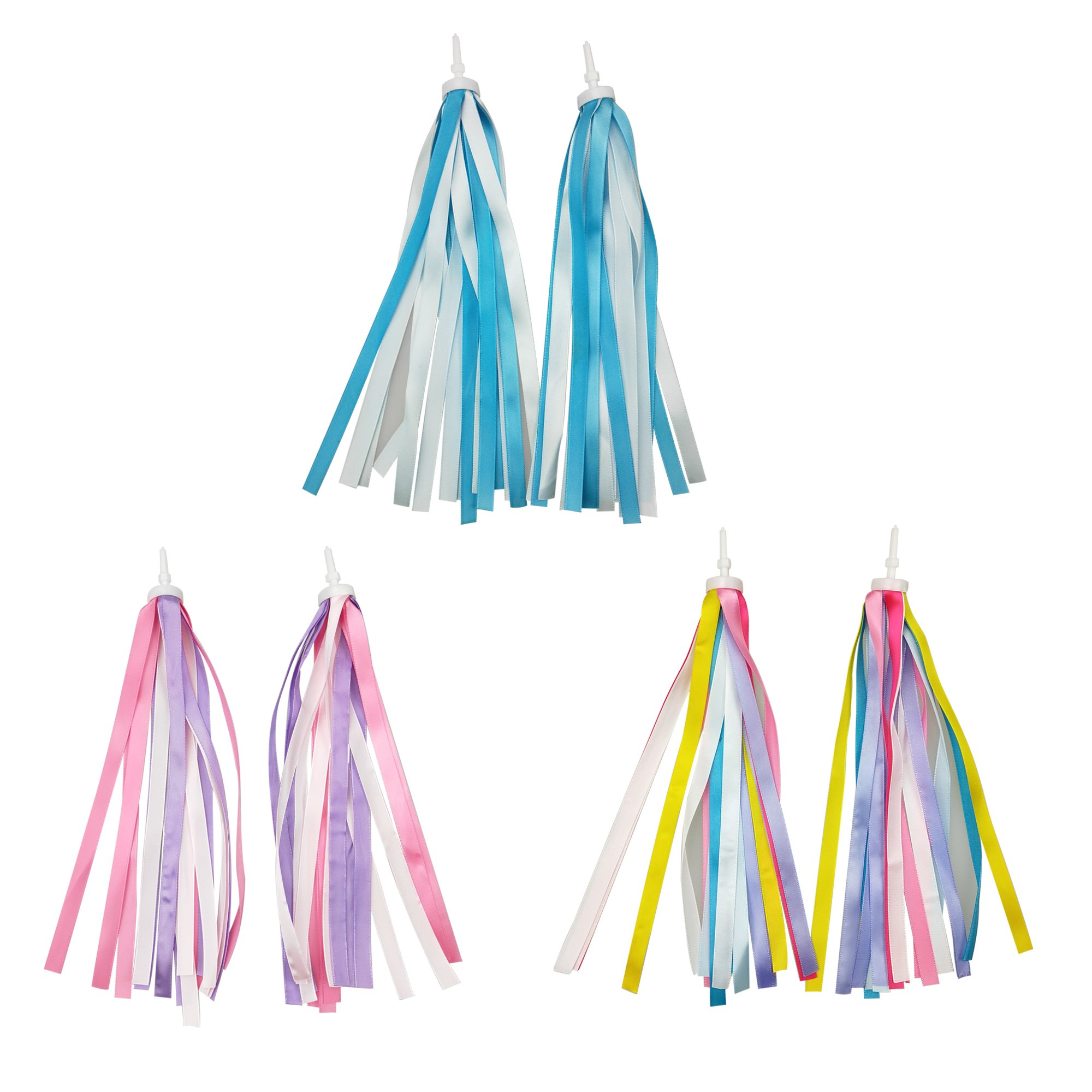 SkyCooool 3 Pairs 6 Pcs Kids Bike Handlebar Streamers Colorful Ribbons Tassel for Girls Boys Scooter Handgrip