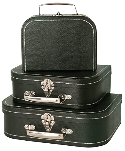 Wald Imports Black Paperboard Decorative Storage Paperboard Suitcases, Set  Of 3