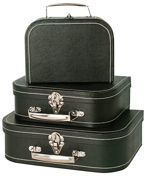 Wald Imports Black Paperboard Decorative Storage Paperboard Suitcases, ...