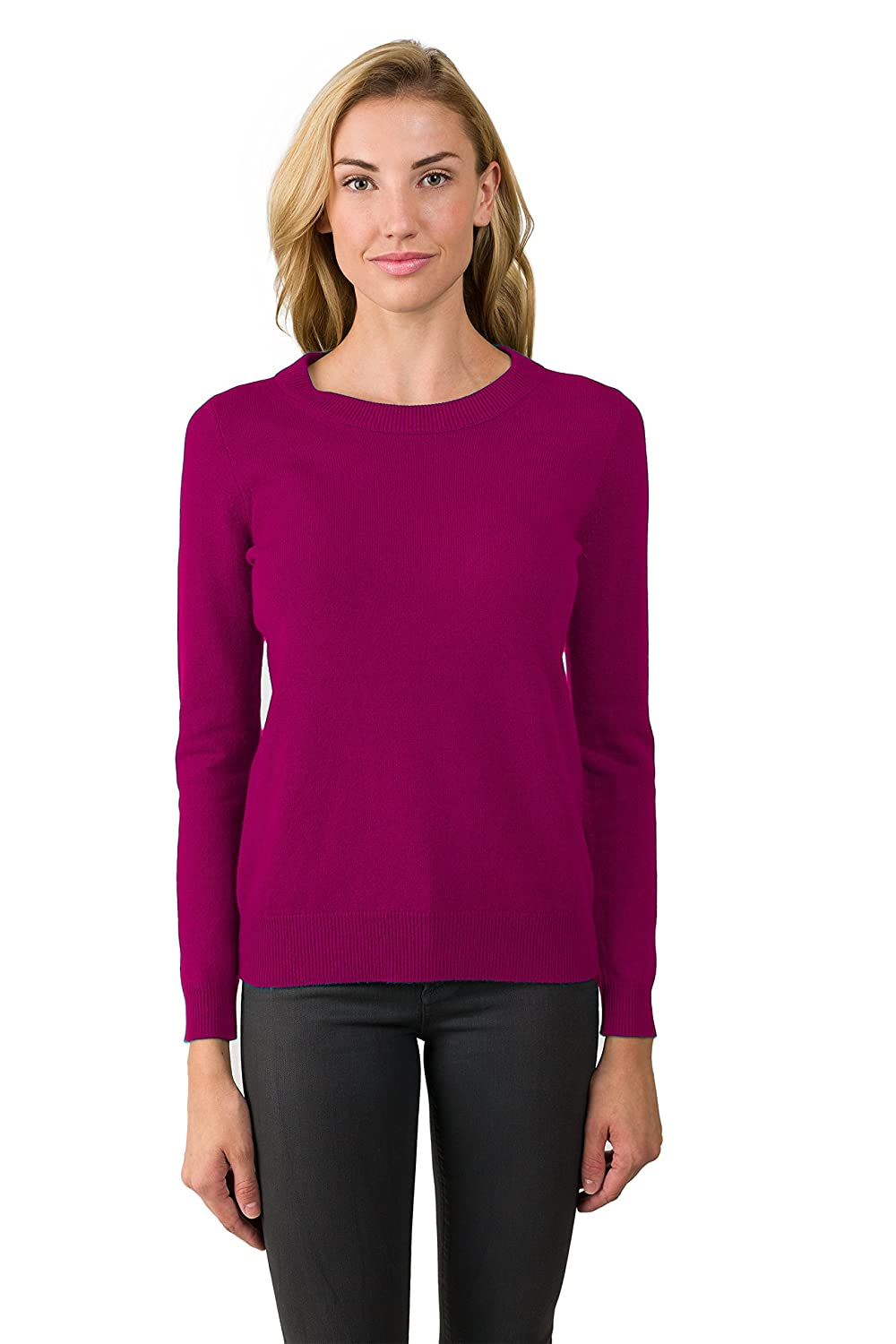 Berry JENNIE LIU Women's 100% Pure Cashmere Long Sleeve Crew Neck Sweater