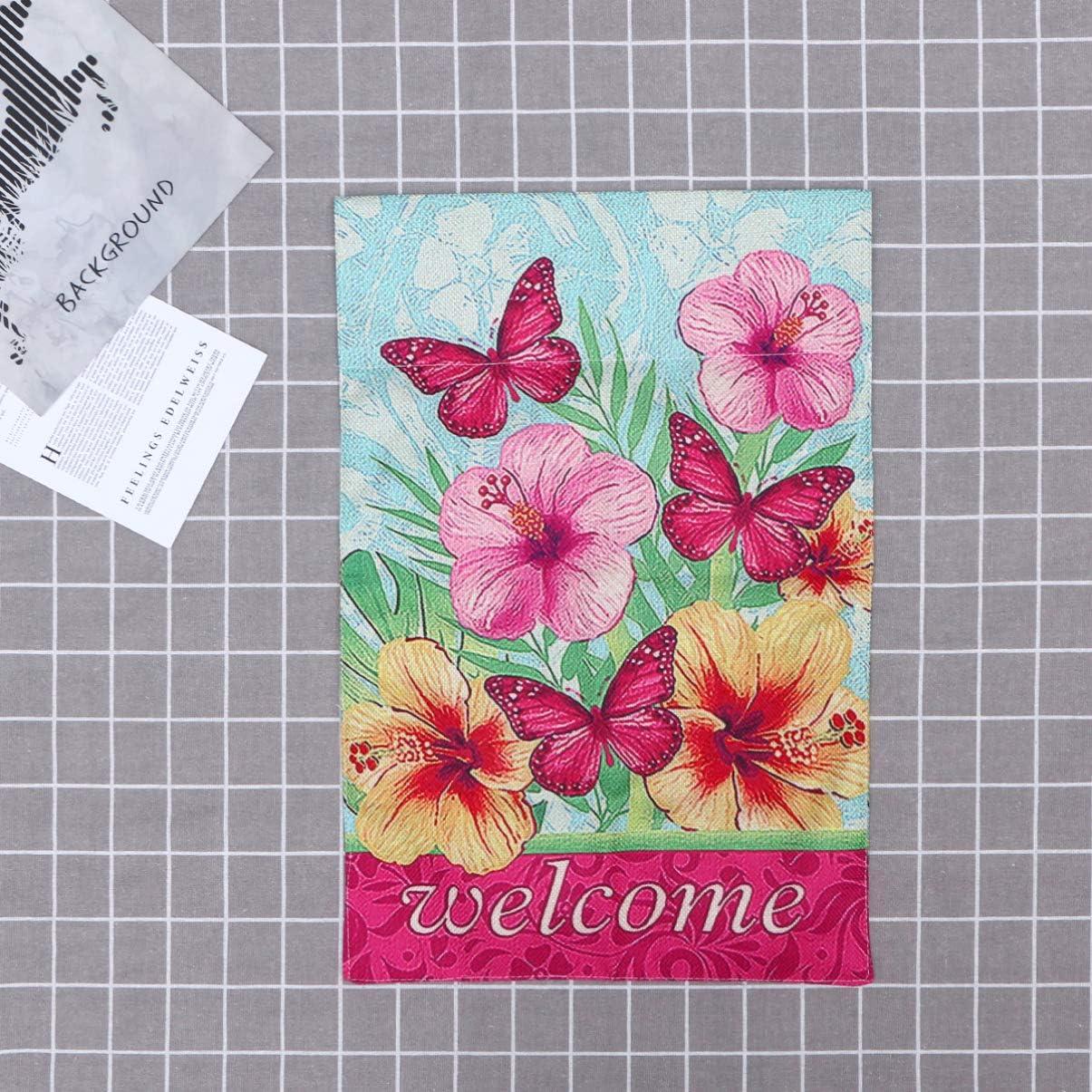 Yardwe Gartenflaggenblumen Und Schmetterlinge Begr/ü/ßen Doppelseitige Frische St/ützenflaggen Der Amerikanischen Art Der Baumwolle f/ür Parteihausgartengesch/äft
