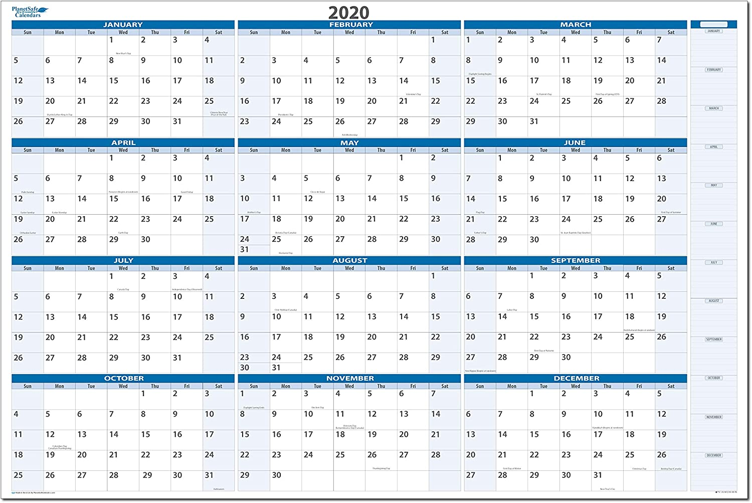 Dry and Wet Erasable Wall Calendars 38 in. X 58 in. Non-Ghosting/Non-staining. Best in It's Class - MA (Year: 2020, Sky Blue)